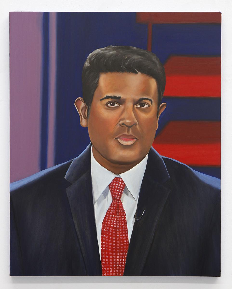 Emily Roz, Hari Sreenivasan, PBS, oil on panel, 20 x 16 inches