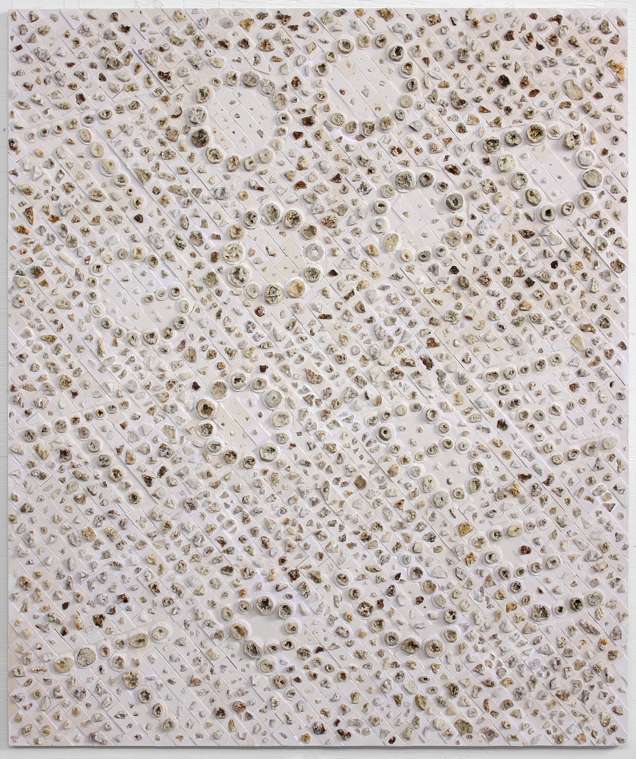 "TOO GOOD TO BE TRUE, 2017, Aquaresin and geodes on ACM panel,  48"" x 40"""