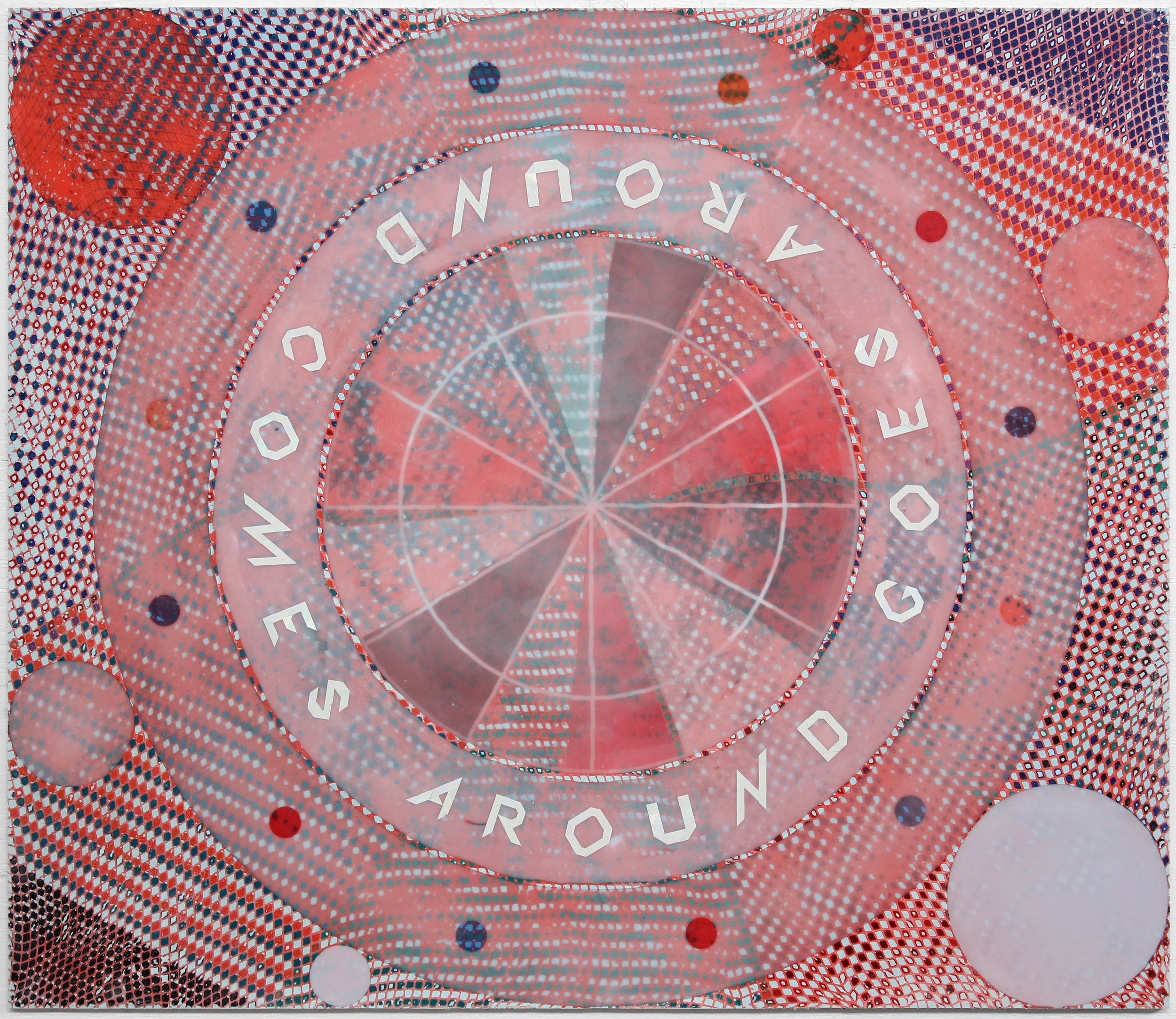 "GOES AROUND COMES AROUND, 2018, Aquaresin, net, latex enamel on ACM panel, 48"" x 56"""