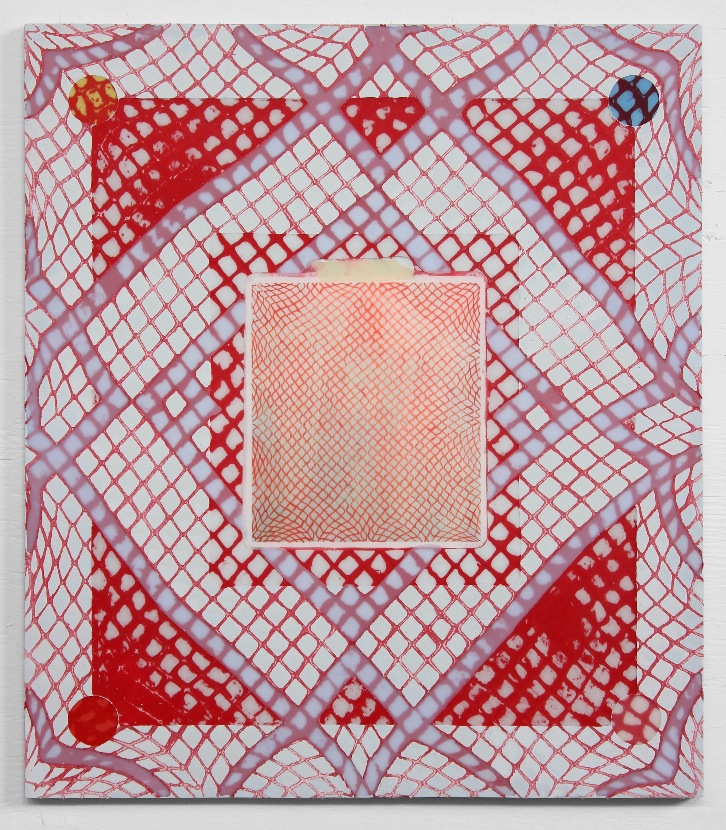 "Red Grid (Insert), 2018, Resin, net, and drawing on ACM panel,  24"" x 21"""