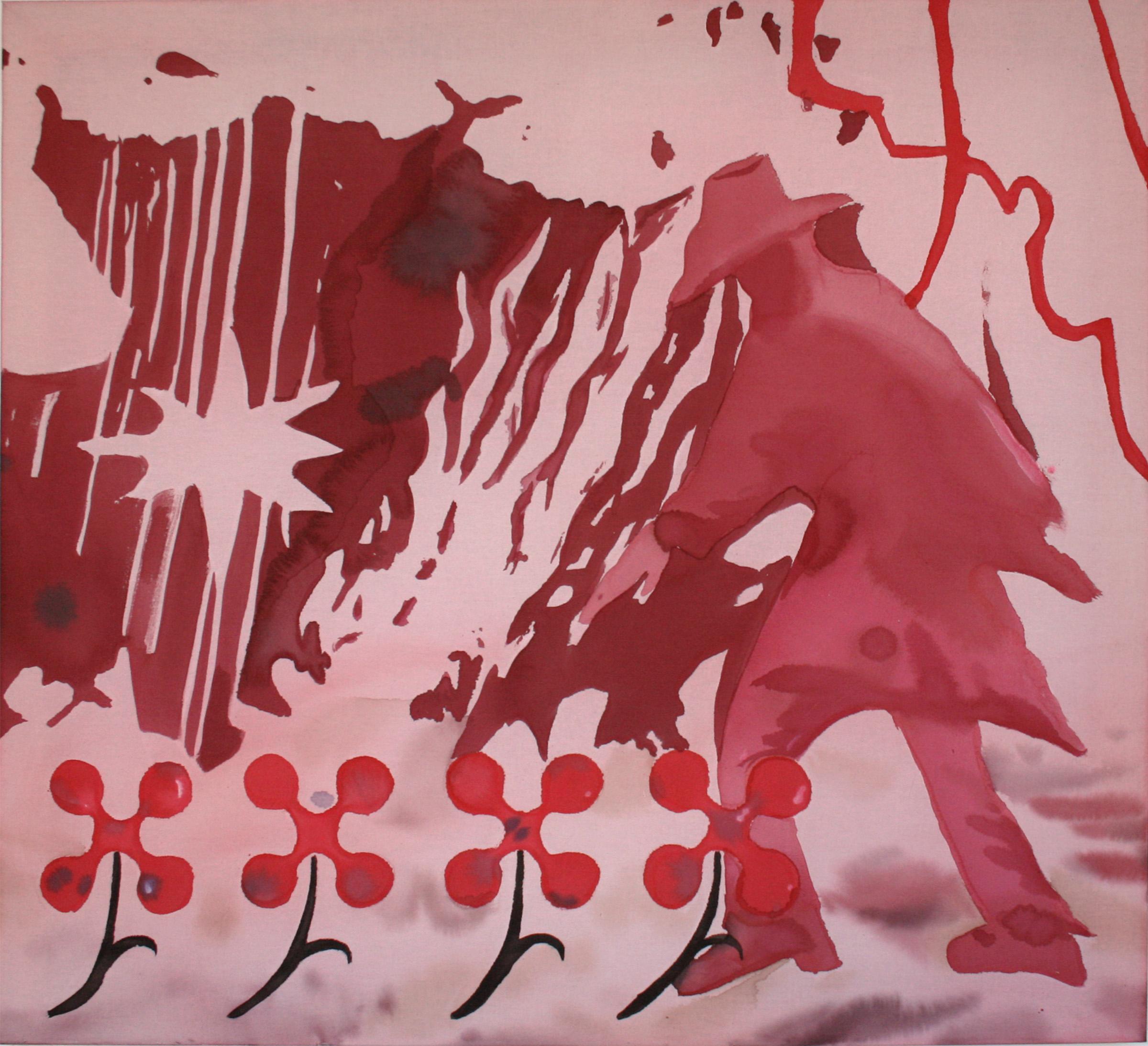 Jenna Beasley, Flametreader, 2018, acrylic dye on muslin, 40''x44''