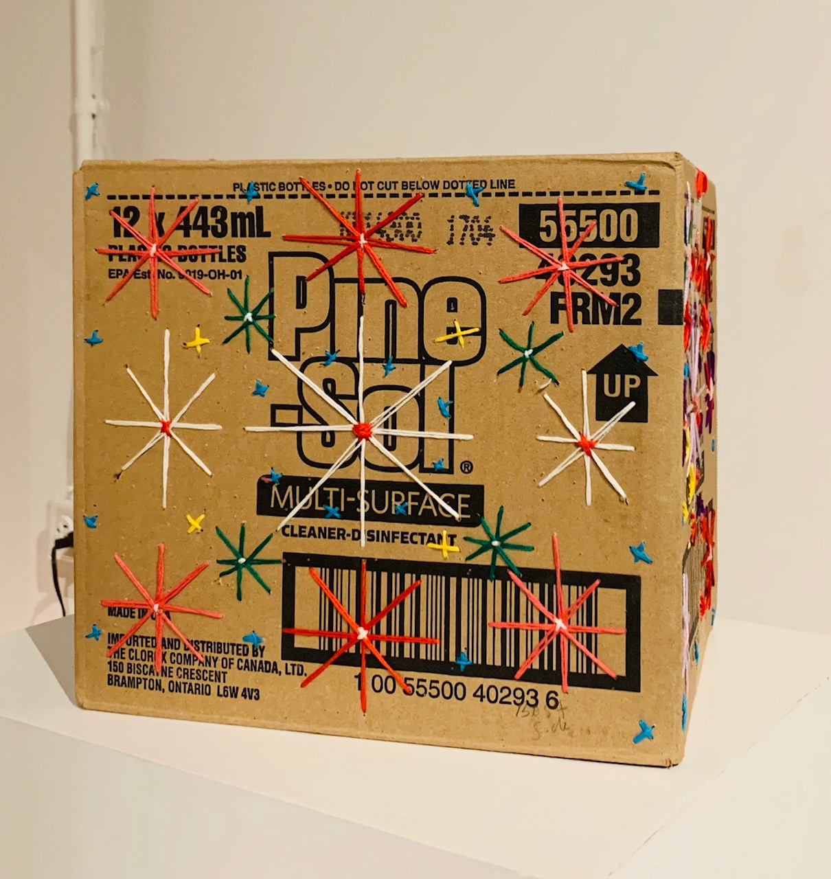 Pine Sol Box (extended) , 2017, cotton thread on cardboard, 9 x 10 x 7.5 inches