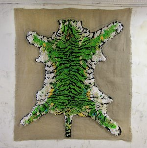 David Kramer,  Tiger (green) 2016, ink and yarn on burlap, 73 x 66 inches