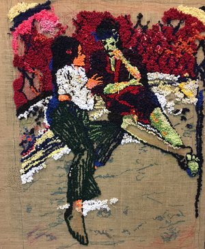 David Kramer,  Groovy Couple , 2016, burlap and yarn, 48 x 36 inches