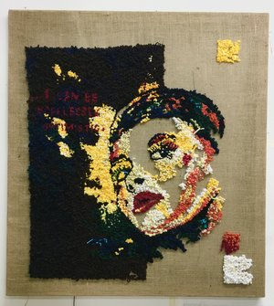 David Kramer,  Hopelessly Optimistic , 2016, burlap and yarn, 36 x 36 inches