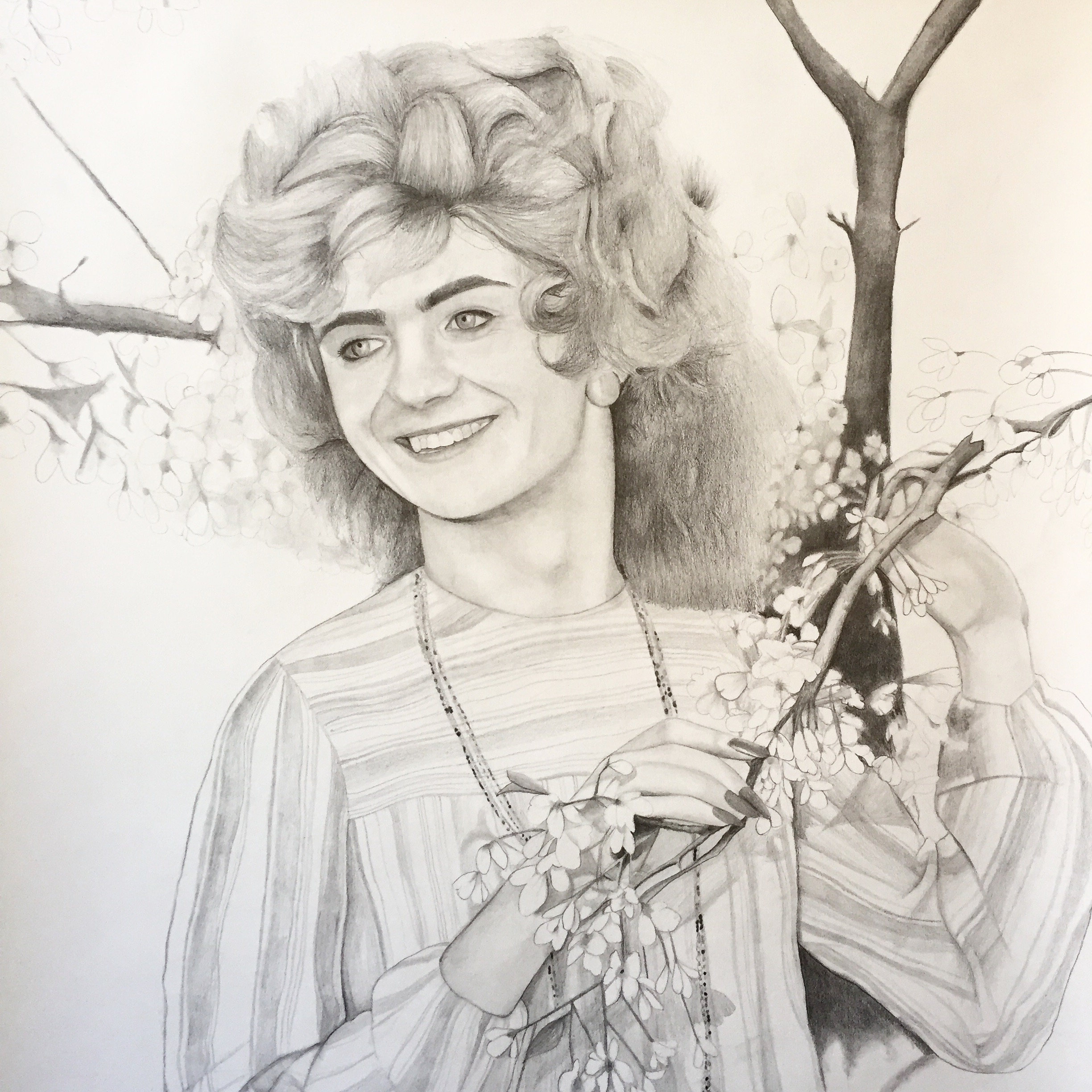 ERICA EYRES, Simone, 2018, pencil on paper, 38 x 28 inches