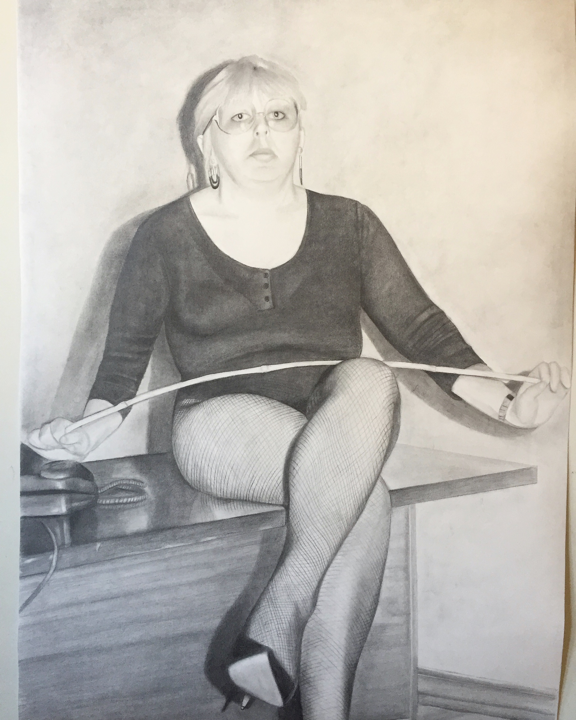 ERICA EYRES, Mona, 2018, pencil on paper, 38 x 28 inches SOLD