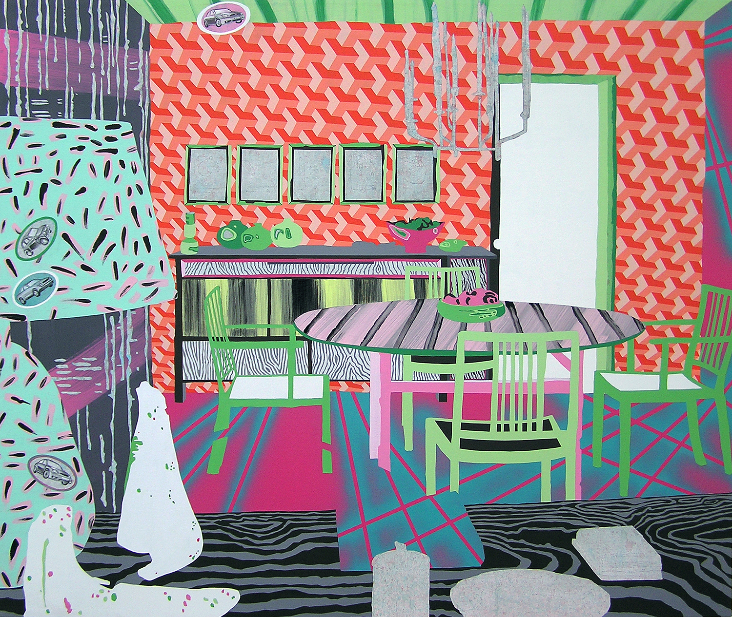 "The Modern way with Color Contains Clashes as well as Harmonies #3    Flashe and oil paint on canvas  36x48"", 2009"