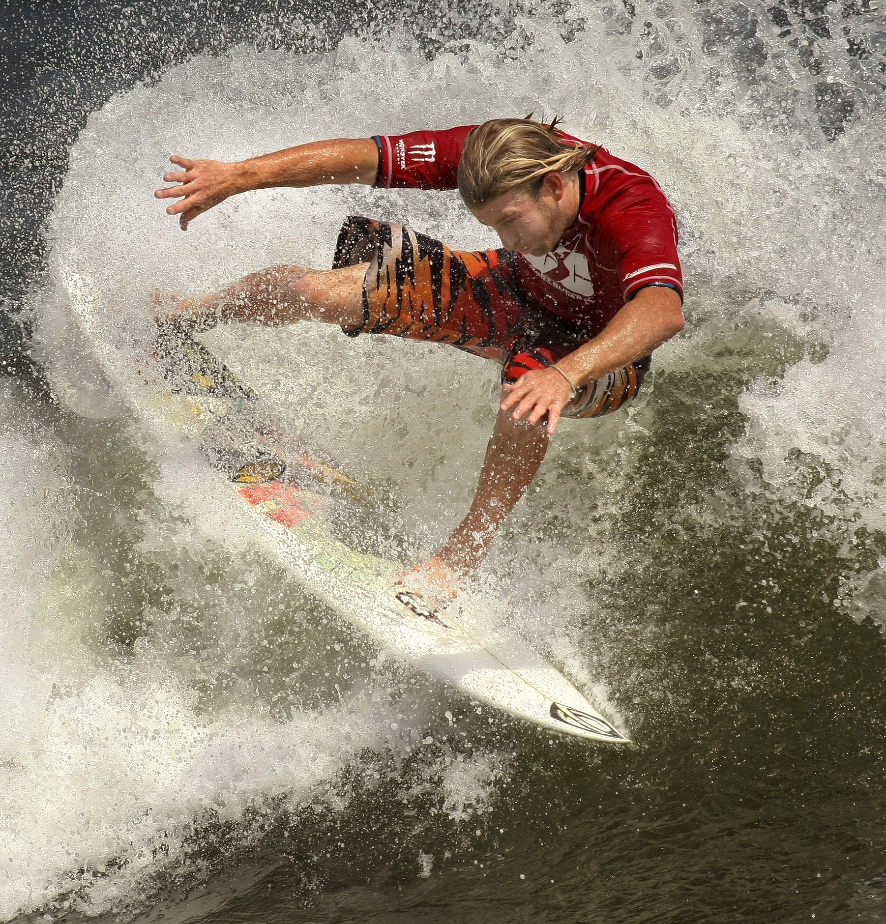 2009, Aaron Cormican of Fl., pulls off a 360 tail slide during the men's pro finals at the 47th Annual East Coast Surfing Championships. Cormican would win the ECSC pro men's title.