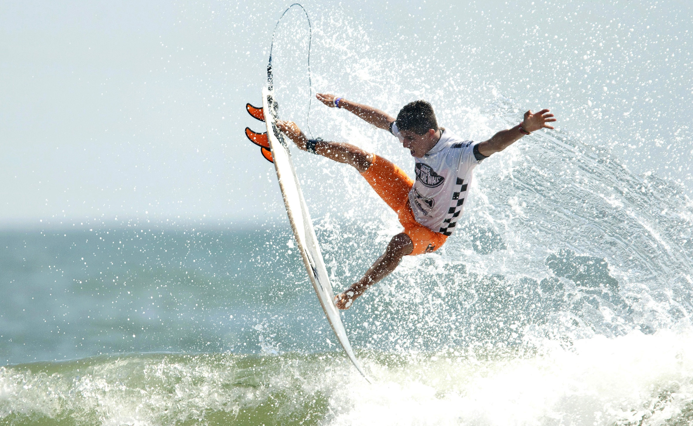 2012, Filipe Toledo of Brazil, pulls off a 360 air, during the Vans Pro Mens semi-finals at the Coastal Edge 50th East Coast Surfing Championships.