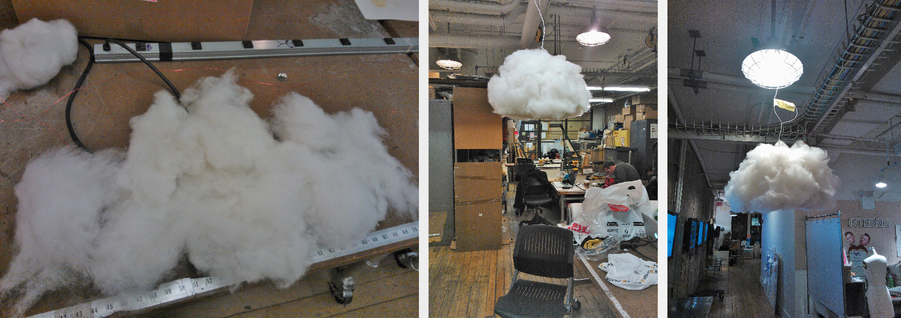Cloud making. Making frame first, packing it up, and wrapping it with cotton to make it looks more cloud-like.