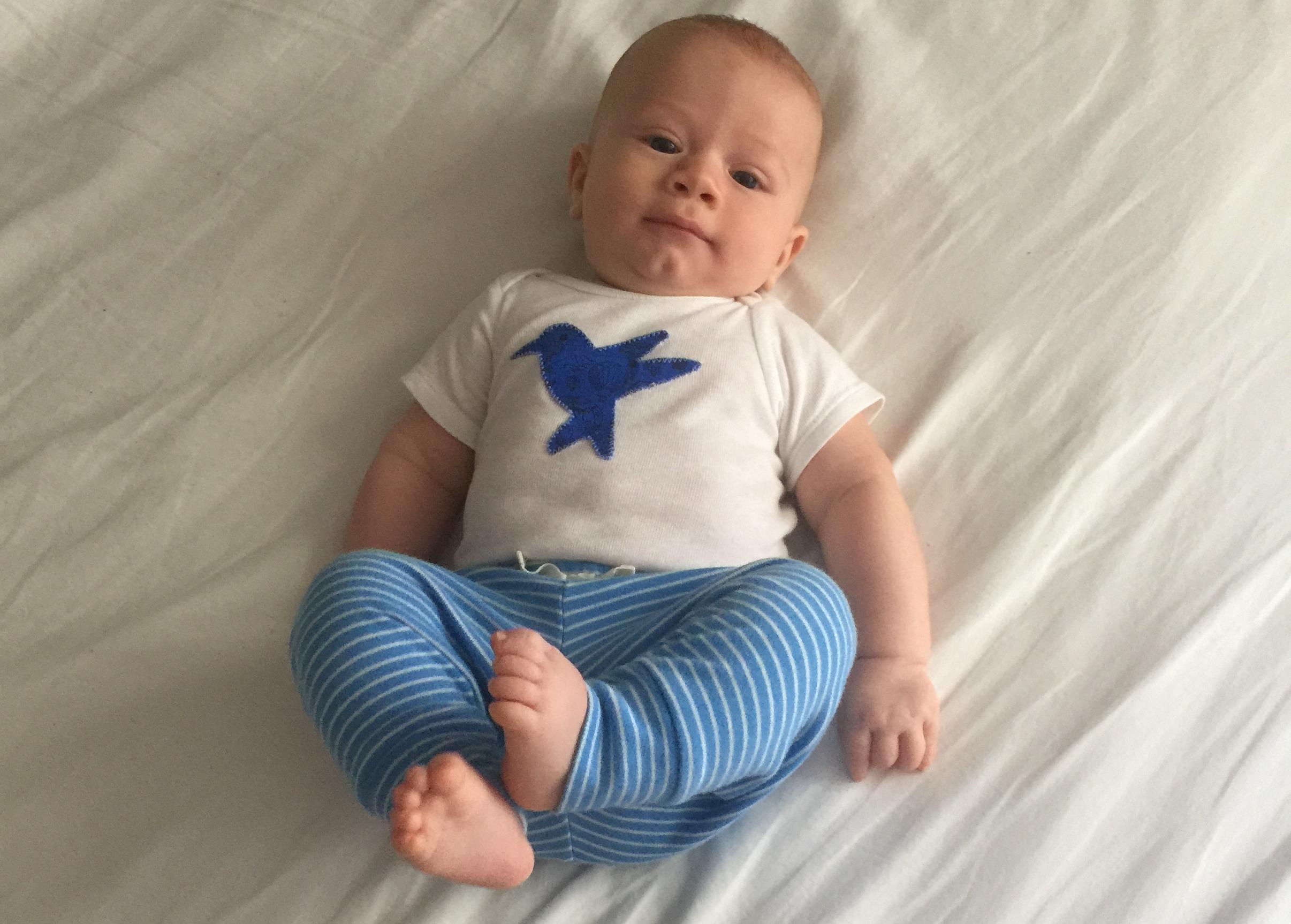 My 4 month old little buddy wearing a onesie his Auntie Ellen made him :)