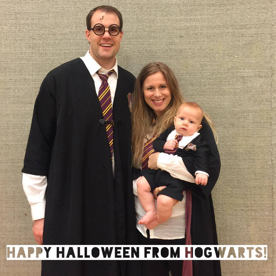 Harry, Hermione and Ron celebrating Halloween at our ward's {local church congregation} chili cook-off and trunk-or-treat! Think year 1 when they were just all best buddies and the perfect trio ;)