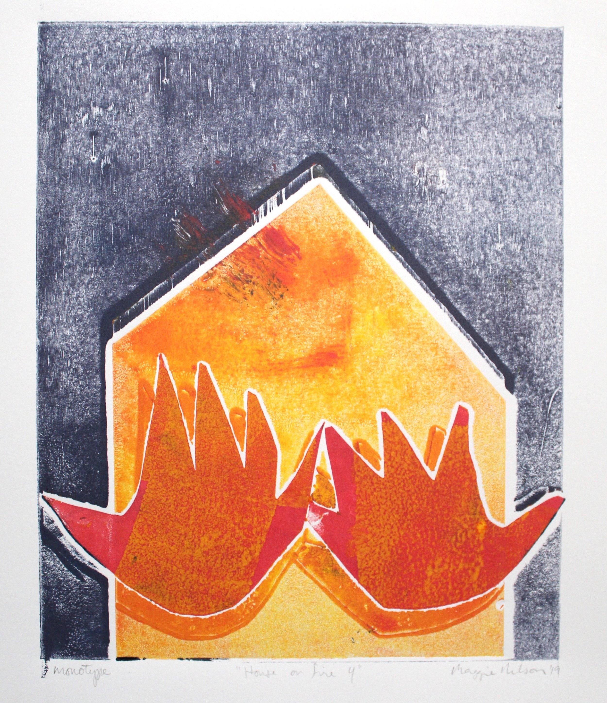 """Monotype Series """"house on fire"""""""