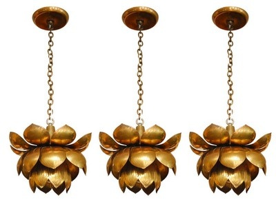 Vintage Brass Lotus Chandeliers via  1st Dibs