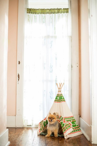 (8) For your Furbaby (Because pups deserve teepees too!) - via  Etsy . Read how to D.I.Y. via  Craft Gawker .