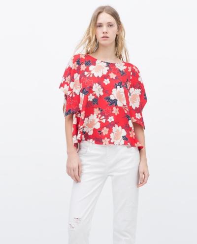 Floral Kimono Top by Zara