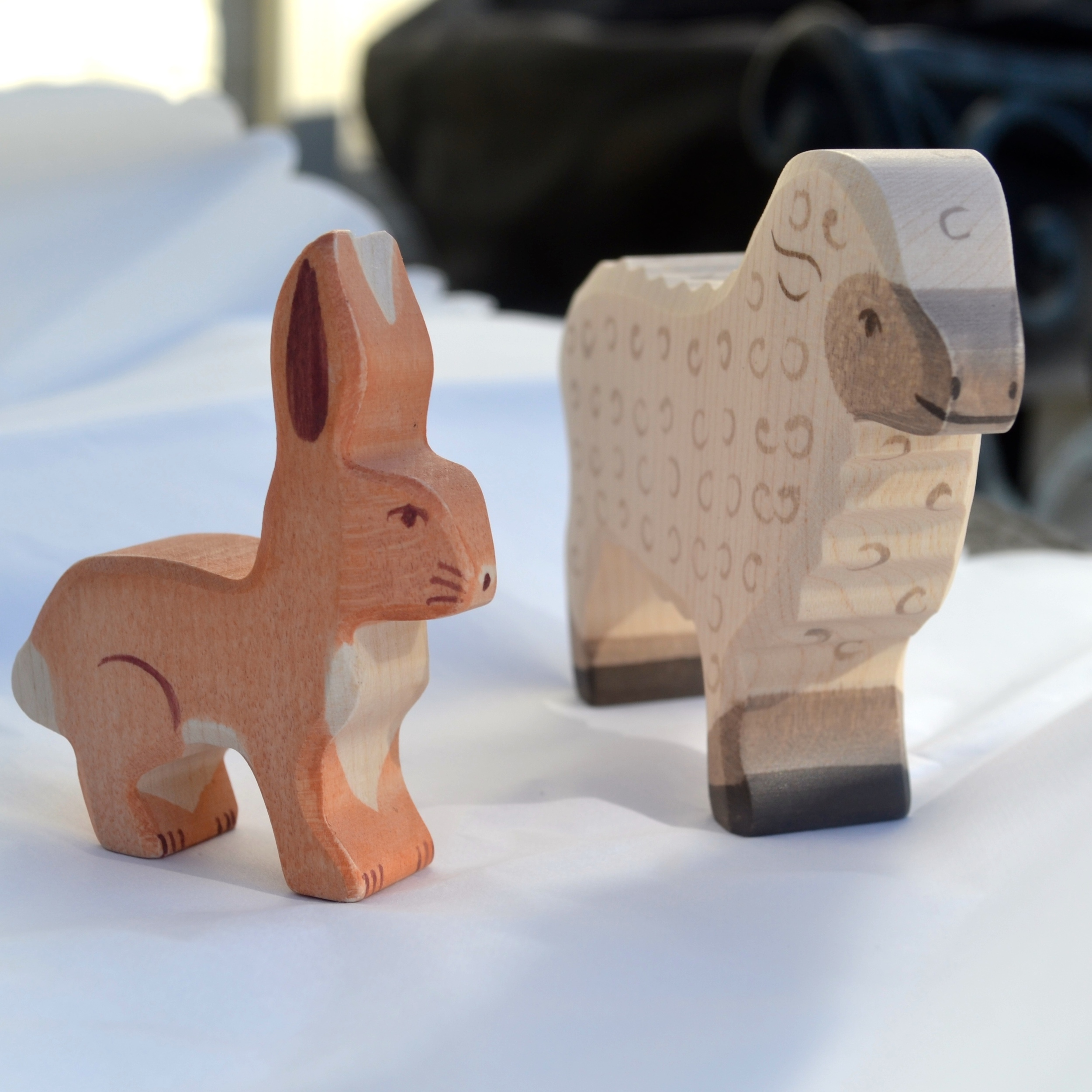 Wooden bunny and sheep toys from  Norman & Jules .