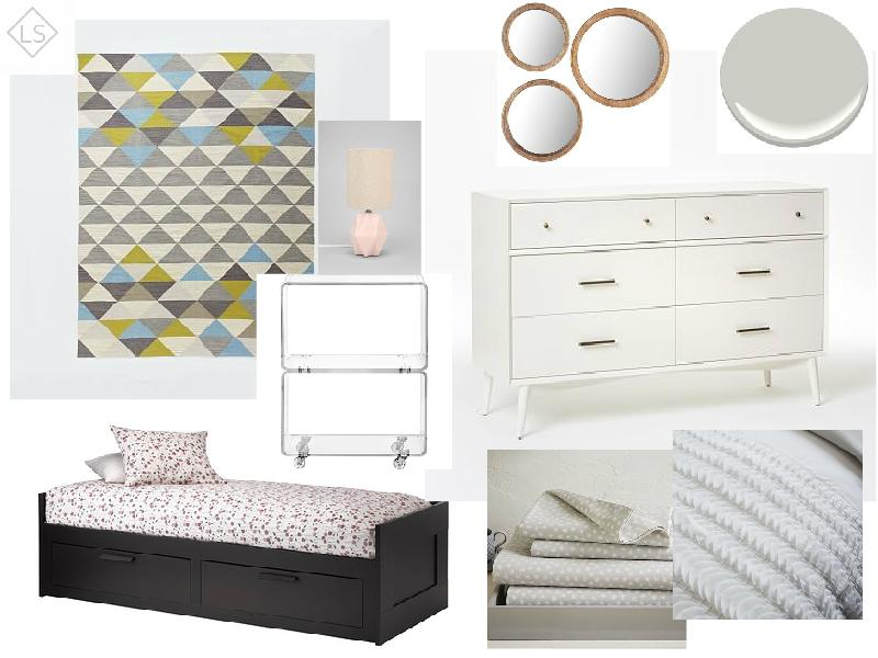 """Mid-Century Magic    Cool palette of grey and blues. Black bed to """"anchor"""" room and tie in the client's existingblack and white zebra rocking chair. Wooden mirrors bring in a natural accent for warmth. Ruffly bedding and light pink accent lamp bring a feminine touch without being overpoweringly girly."""