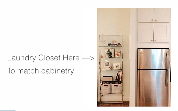 We wanted to remove this etagere and build out the white kitchen cabinetry to the left of the refrigerator and create a mini-closet to house a small stacked washer + dryer.