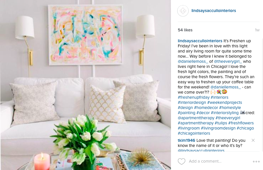 :: danielle moss' lincoln park living room via instagram  @lindsaysaccullointeriors . For the complete apartment tour, click  here . ::