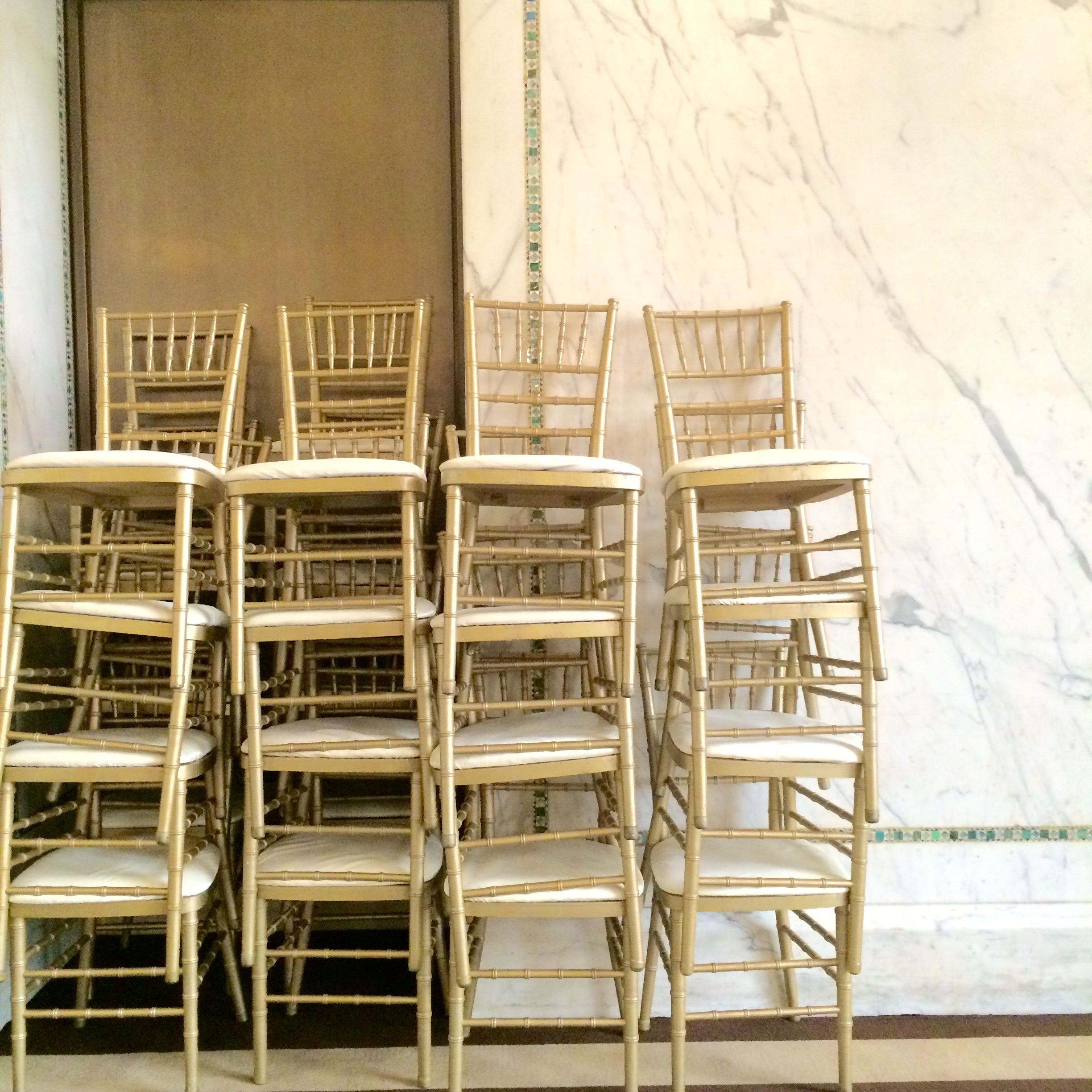 :: the prettiest stack of chivalry gold ballroom chairs I ever did see :: chicago cultural center ::
