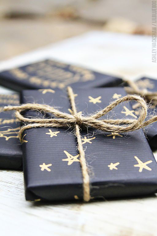 Black Paper + Gold Sharpie + Twine  via Little Scandanavian