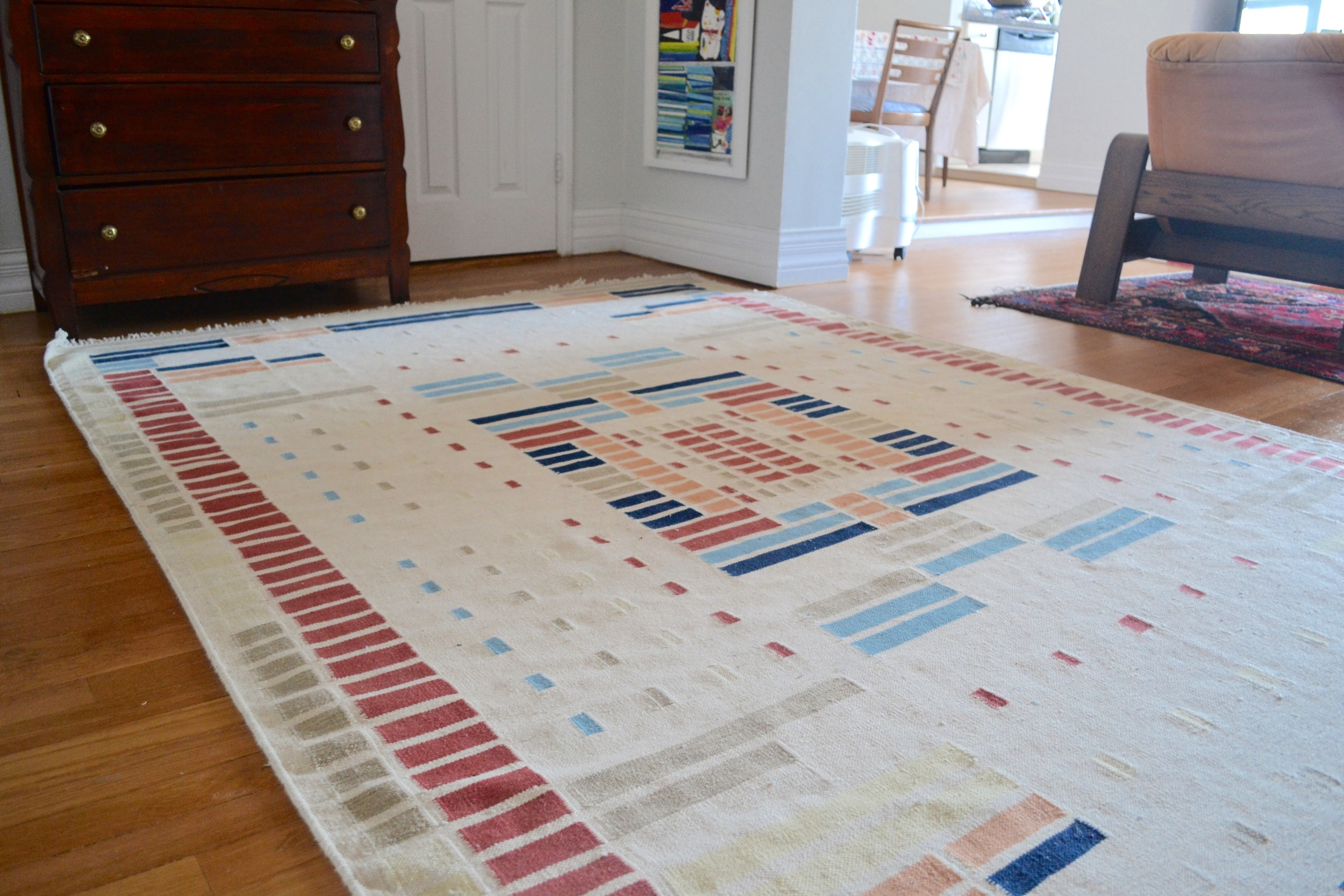 I found this vintage flat-weave rug on Charish.com and it just screamed Client Crafty to me! Luckily the couple agreed and purchased it right away!