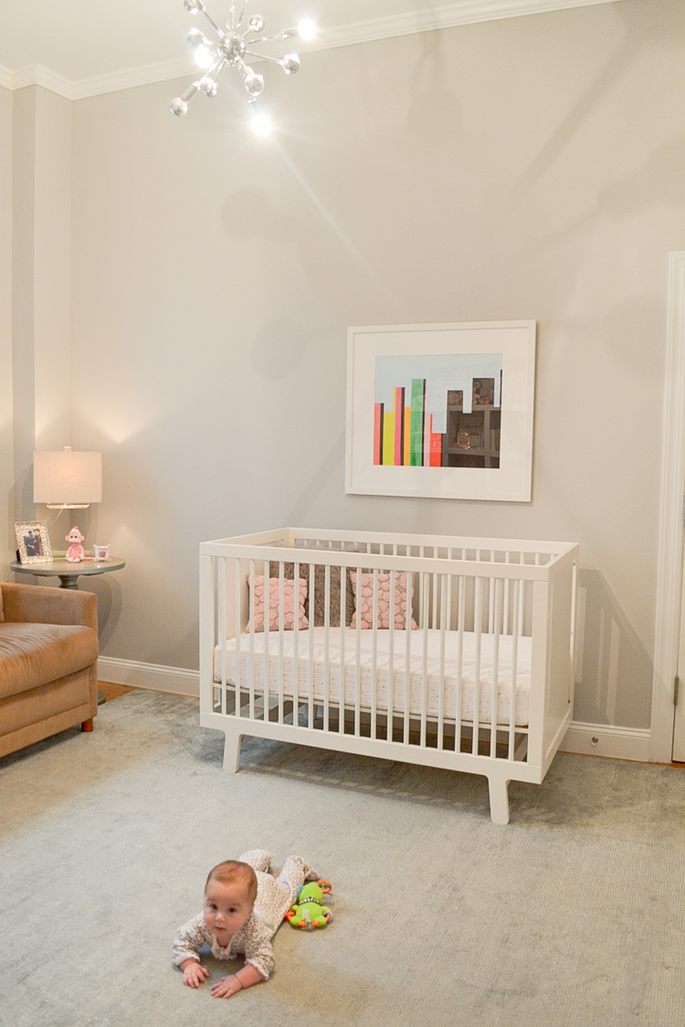 The Oeuf Sparrow Crib, Grey Pedestal Table by Safavieh and the crystal lamp (Homegoods!) all came with us to SF. Oh yeah, and the baby!