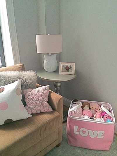 """The owl lamp and """"love"""" bin (both Homegoods steals!) came with as well."""