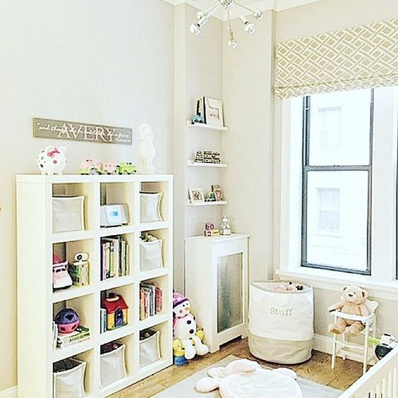 """Sadly the Sputnik fixture by Shades of Light and the roman shade (made on Etsy) were sold as """"fixtures"""" along with the apartment. But the white bookshelf and gray and white bins came with, so I wanted to work them into the new design."""