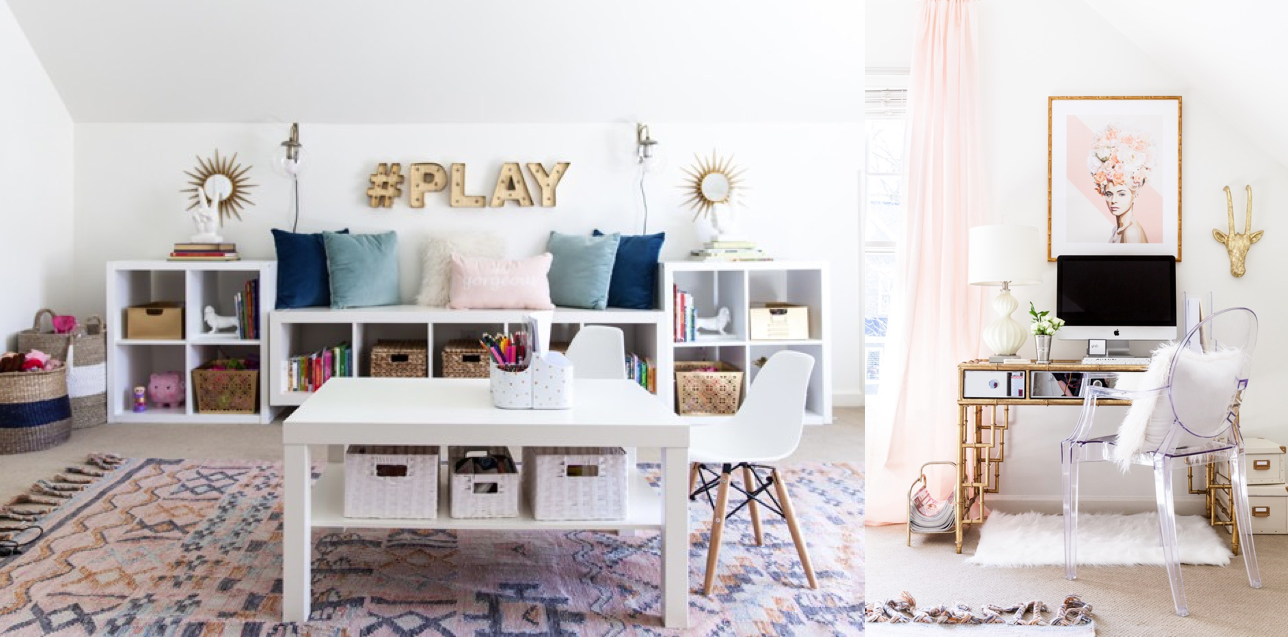 And I saved the   best   for last! This gorgeous and girly playroom + office via Style Your Senses blog.  DROOL!