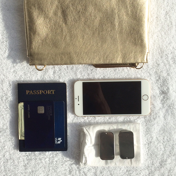 Purse:wallet (with the fewest cards necessary, minimal US cash, and my passport!), phone (loaded with books, meditations and travel logistics), lip gloss, medication and a handkerchief