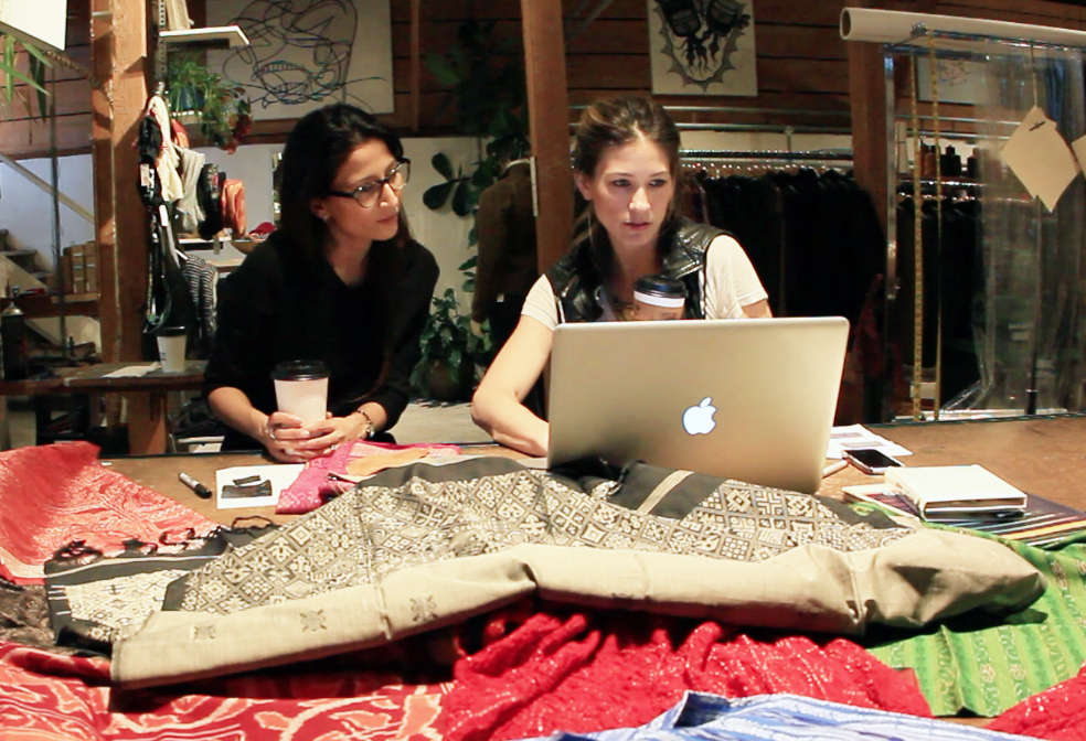 Mitali Pattnaik - founder & Bryna Hubbs - creative director working on FABRIQ designs