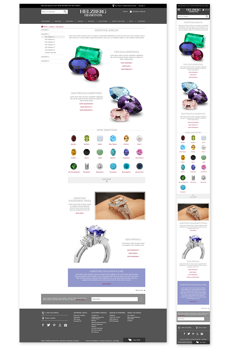 Gemstone Jewelry Landing Page. Click here  to view it live.  ©2017 Helzberg Diamonds® All Rights Reserved.
