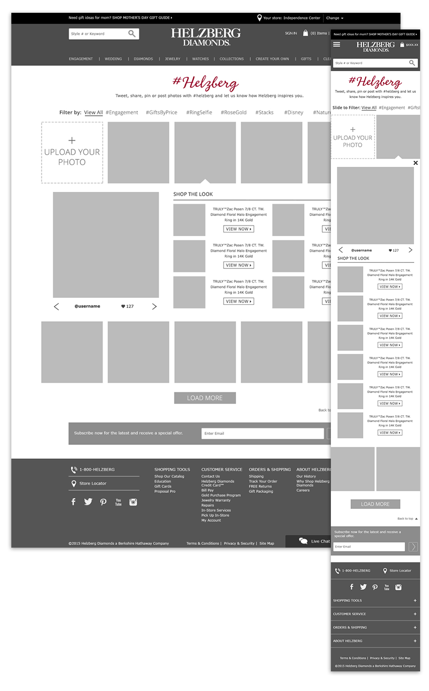 Curalate Gallery wireframe.  Click here  to view it live.  ©2017 Helzberg Diamonds® All Rights Reserved.
