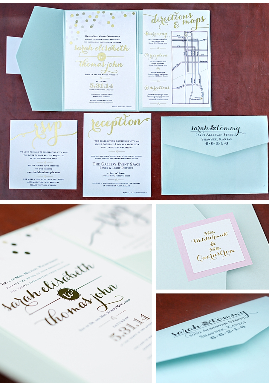 2014 Muelleman Wedding Invitations    Objective   Client requested a wedding invitation that housed the main wedding invitation and 3 individual insert cards labeled'directions & maps', 'reception', and 'RSVP'. In order for the invitations to represent a black tie event and using the pastel color palette, we incorporated 3 printing techniques to ensure a high quality finished product. These methods include: foil stamping printing process, thermography, and four color process.  (Photographer: Tracy Routh)