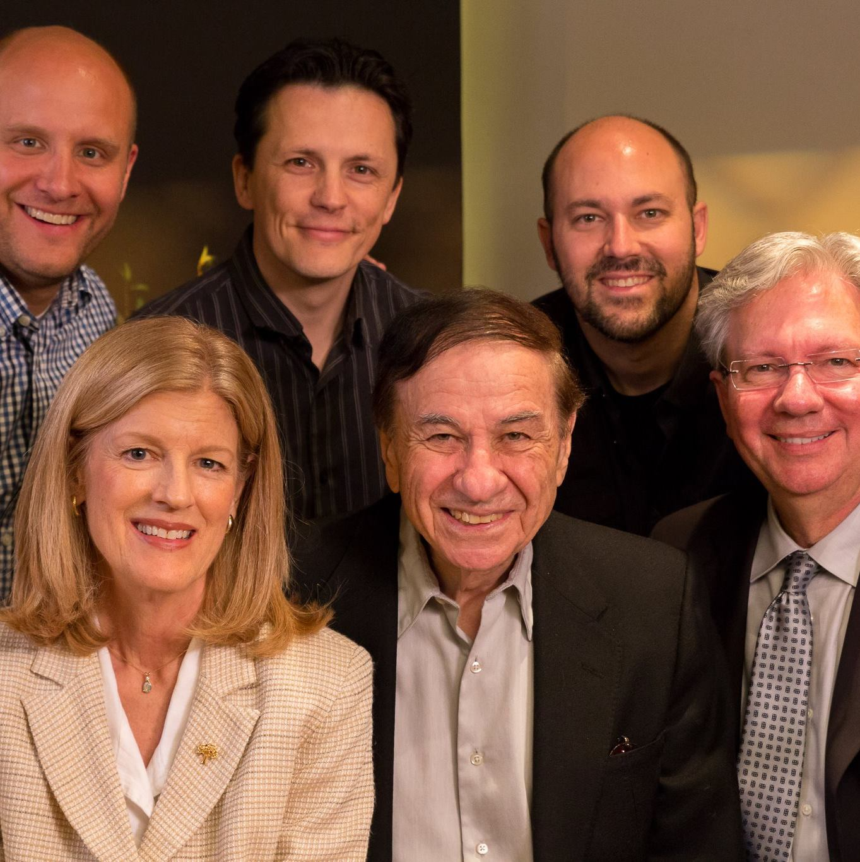 Richard Sherman with show creators Victor Pesavento and Jonathan Hughes, conductor Steven Allen Fox,Film Music Foundation PresidentPatrickRuss andLinda Danly