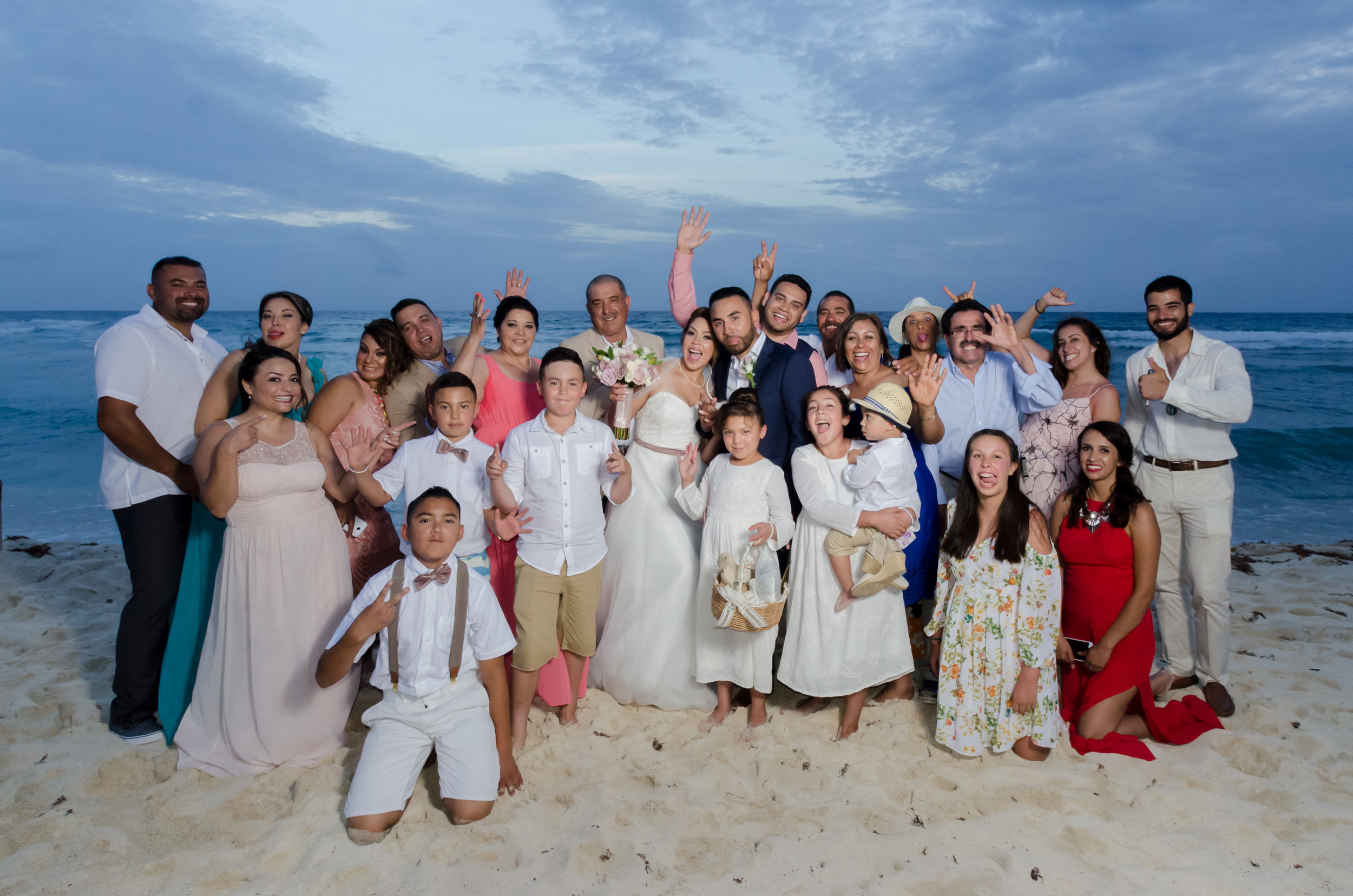 Family formal shot on the beach