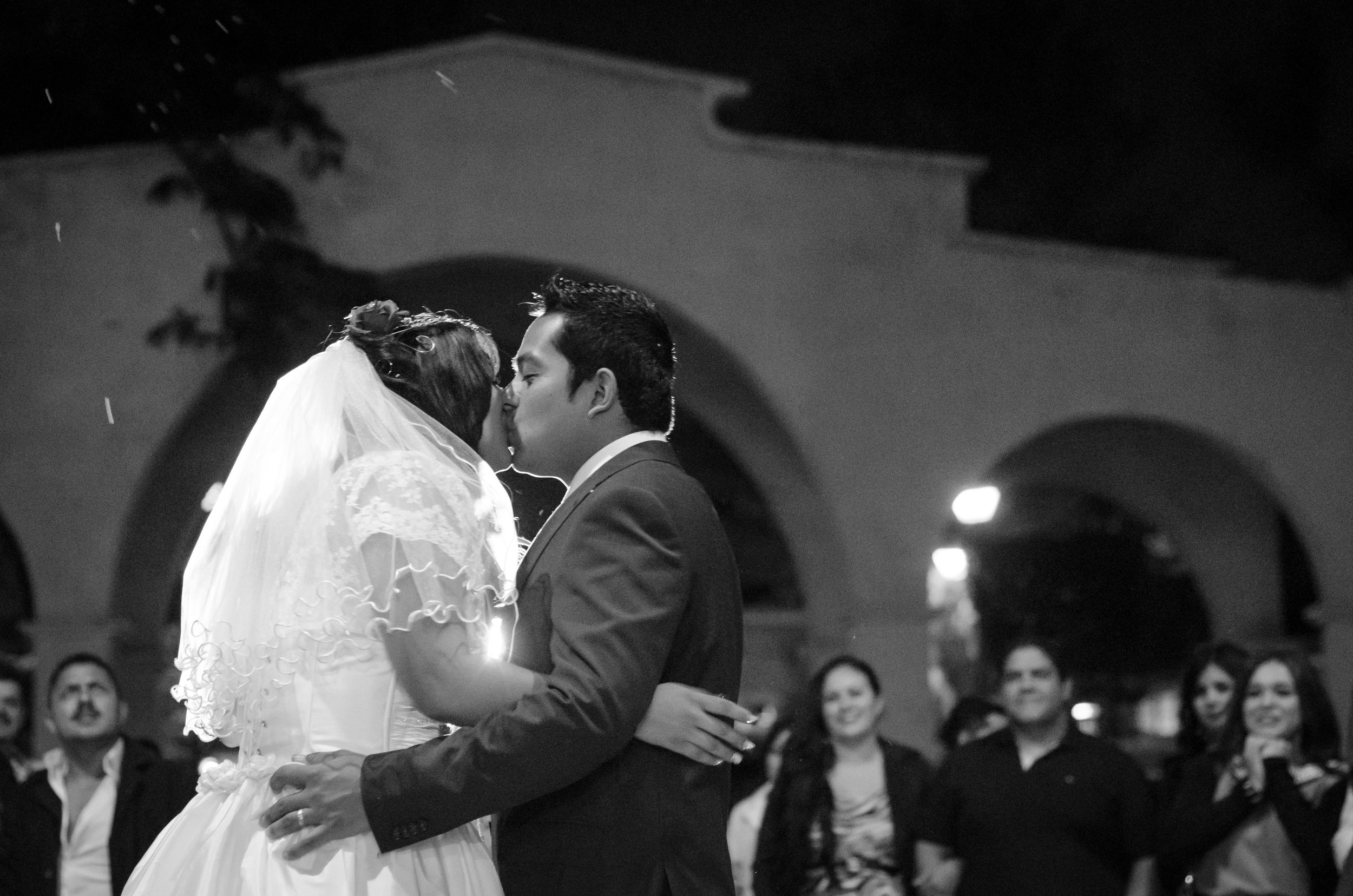 first kiss being married outside the church