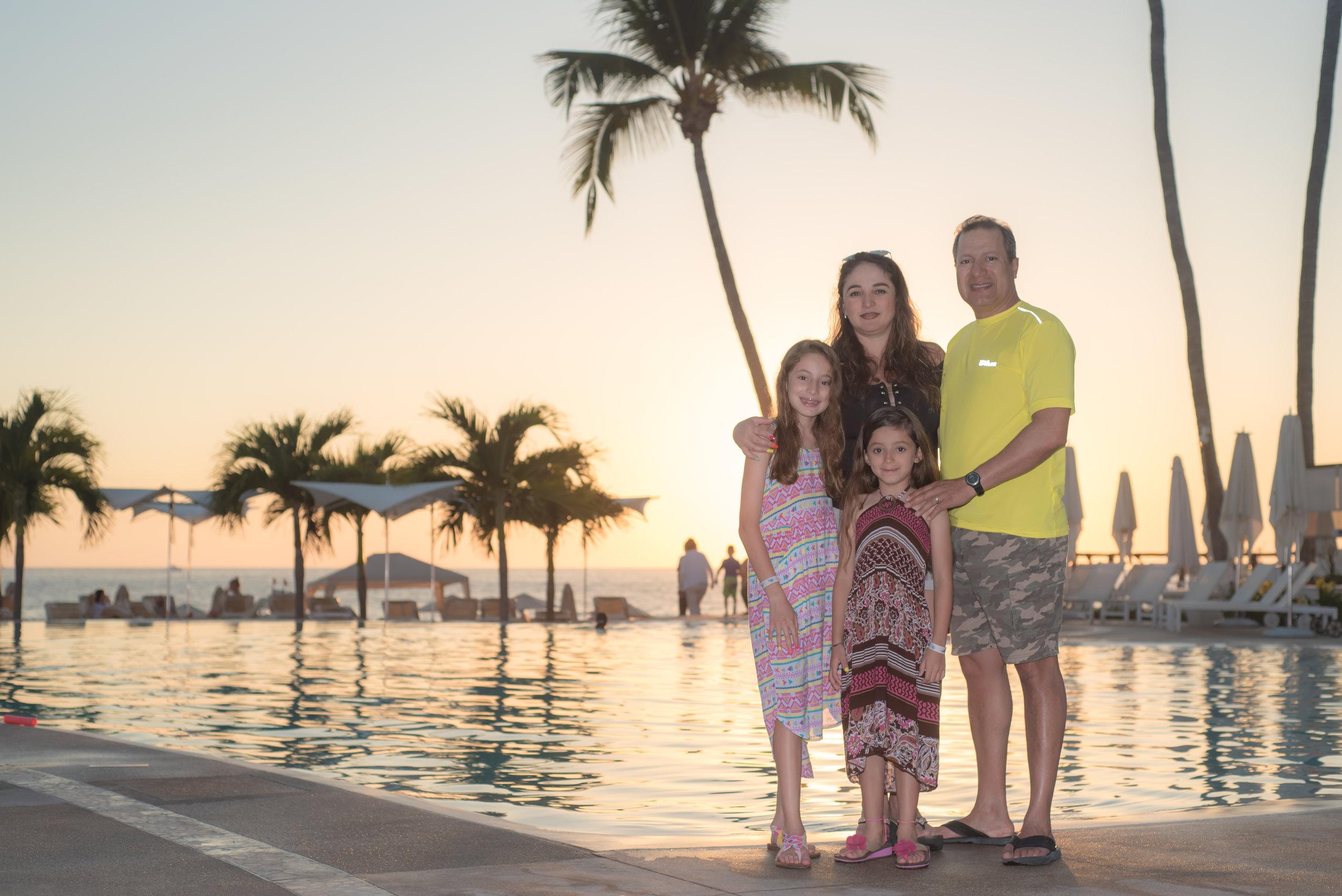 family portrait pool side