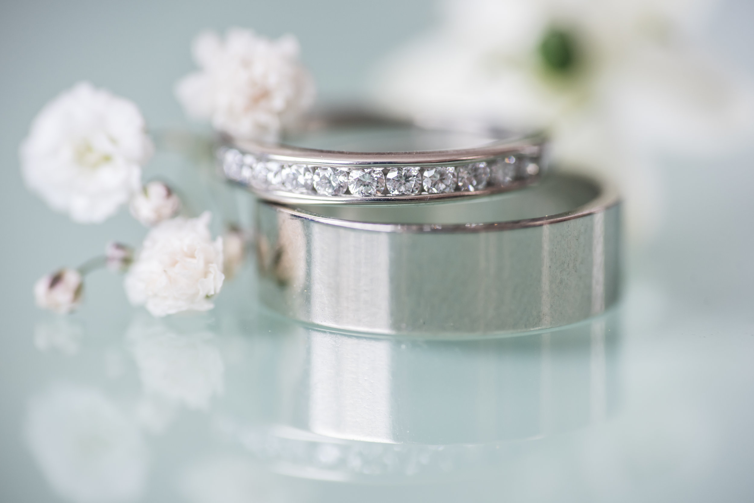 wedding rings and cute little flowers