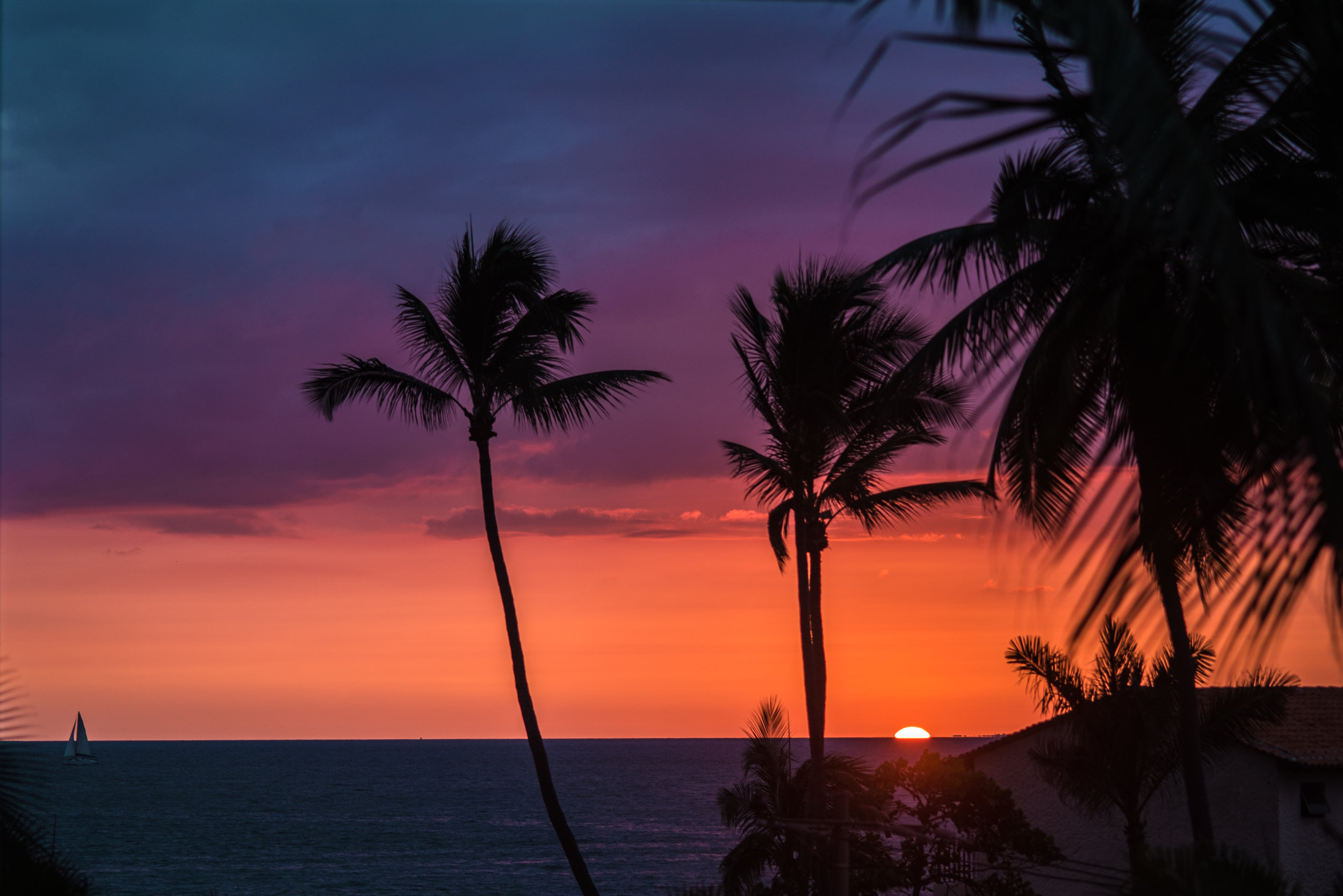 visual vacations, sun setting in the ocean