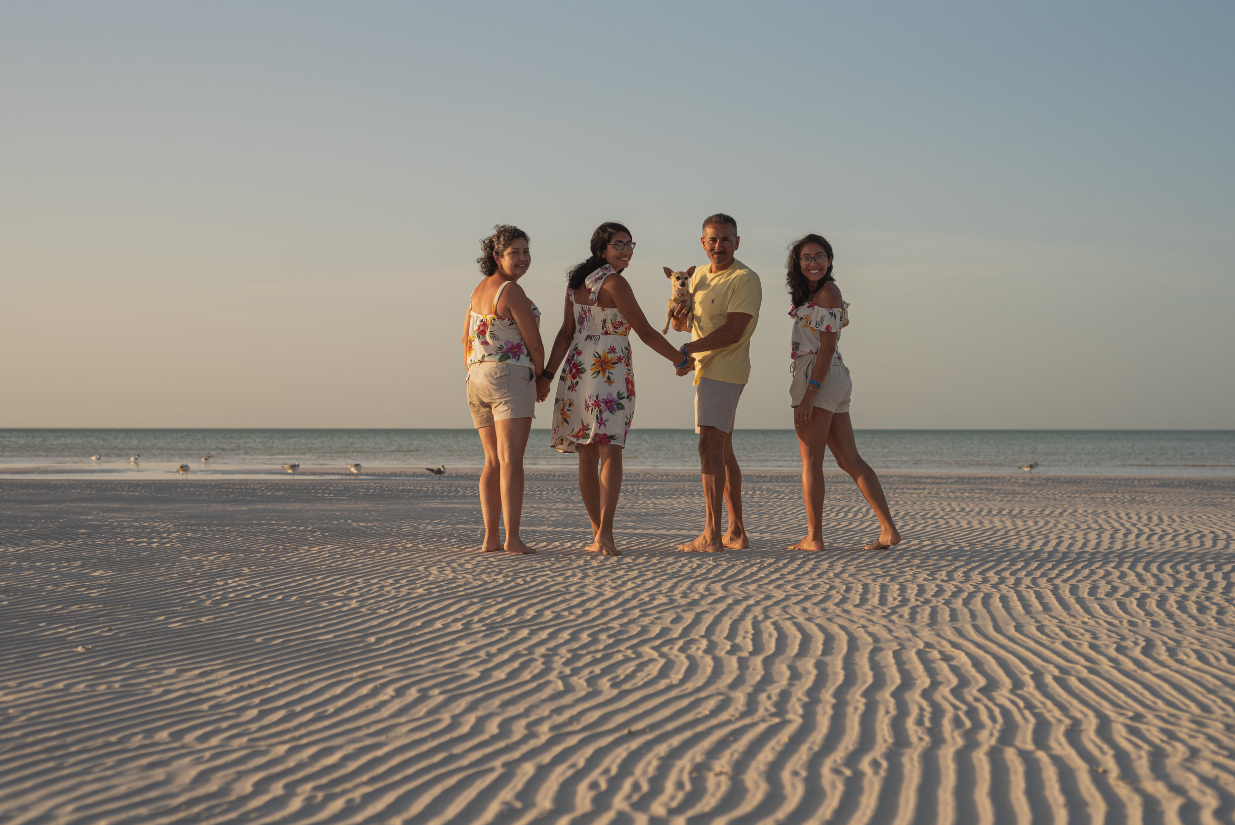 family photo session at Villas flamingos beach on the Isla de Holbox México