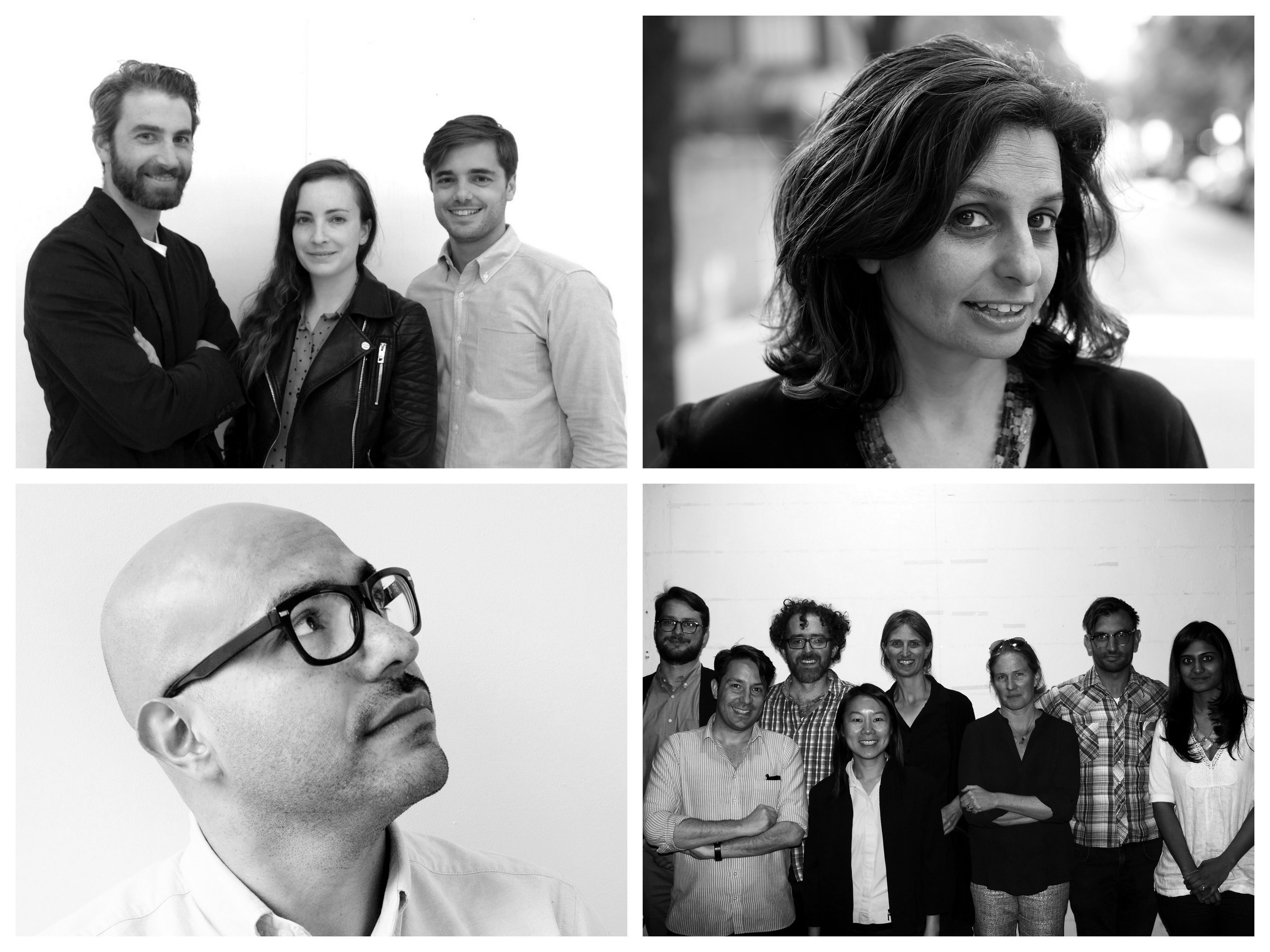 IPA Fellows. Clockwise from top left:Nathan Rich, Miriam Peterson, andSagi Golan; Nadine Maleh; Kaja Kühl (rear, center) with Columbia University Graduate School for Architecture, Preservation and Planning's 5 Borough Studio; and Quilian Riano. Photos courtesy IPA Fellows.