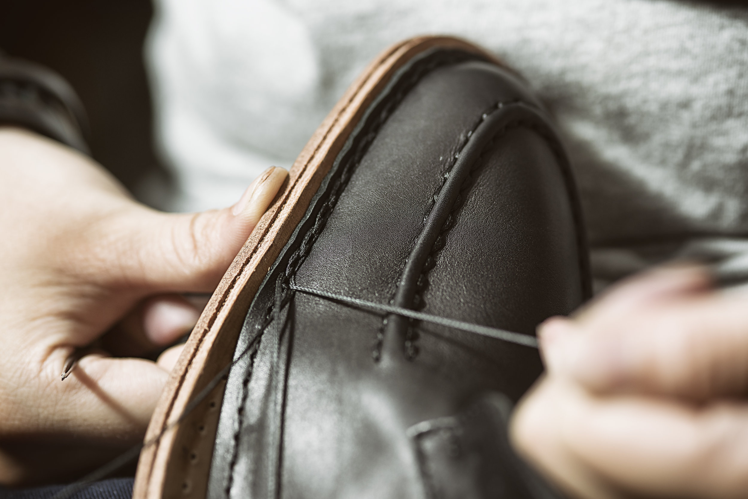 Hand-sewn shoe construction