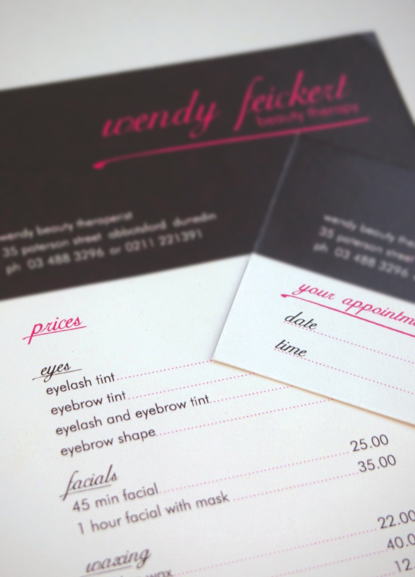 [Price list and business card]