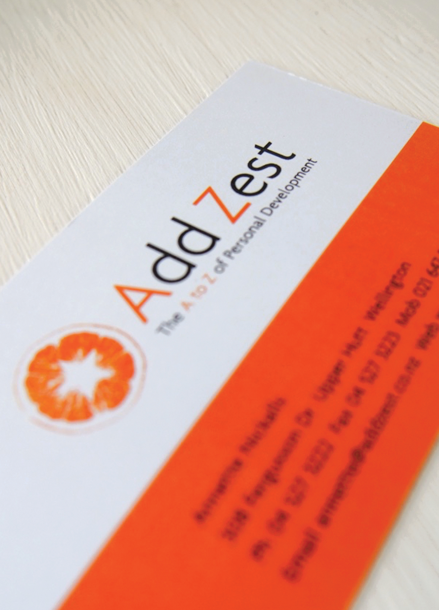 [Add Zest] 2006 Create and design a brand identity for a new life coaching company. Expand to business card and letterhead. [Above business card]
