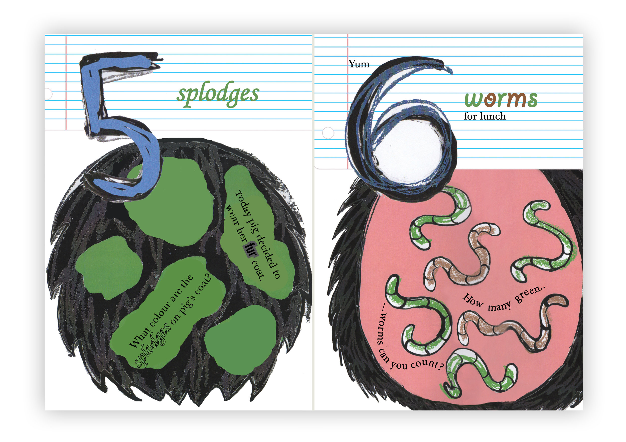 The above illustration is from my self published book '1-10' written and illustrated by Heidi Osten. The original illustrations and text were created in 2002, then the entire book has been reworked during 2014 and 2015. This book addresses the numbers from 1-10 with funny, grungy illustrations that accompany the numbers and written words. This book will contribute to your child's numeracy and literacy skills in a fun way.