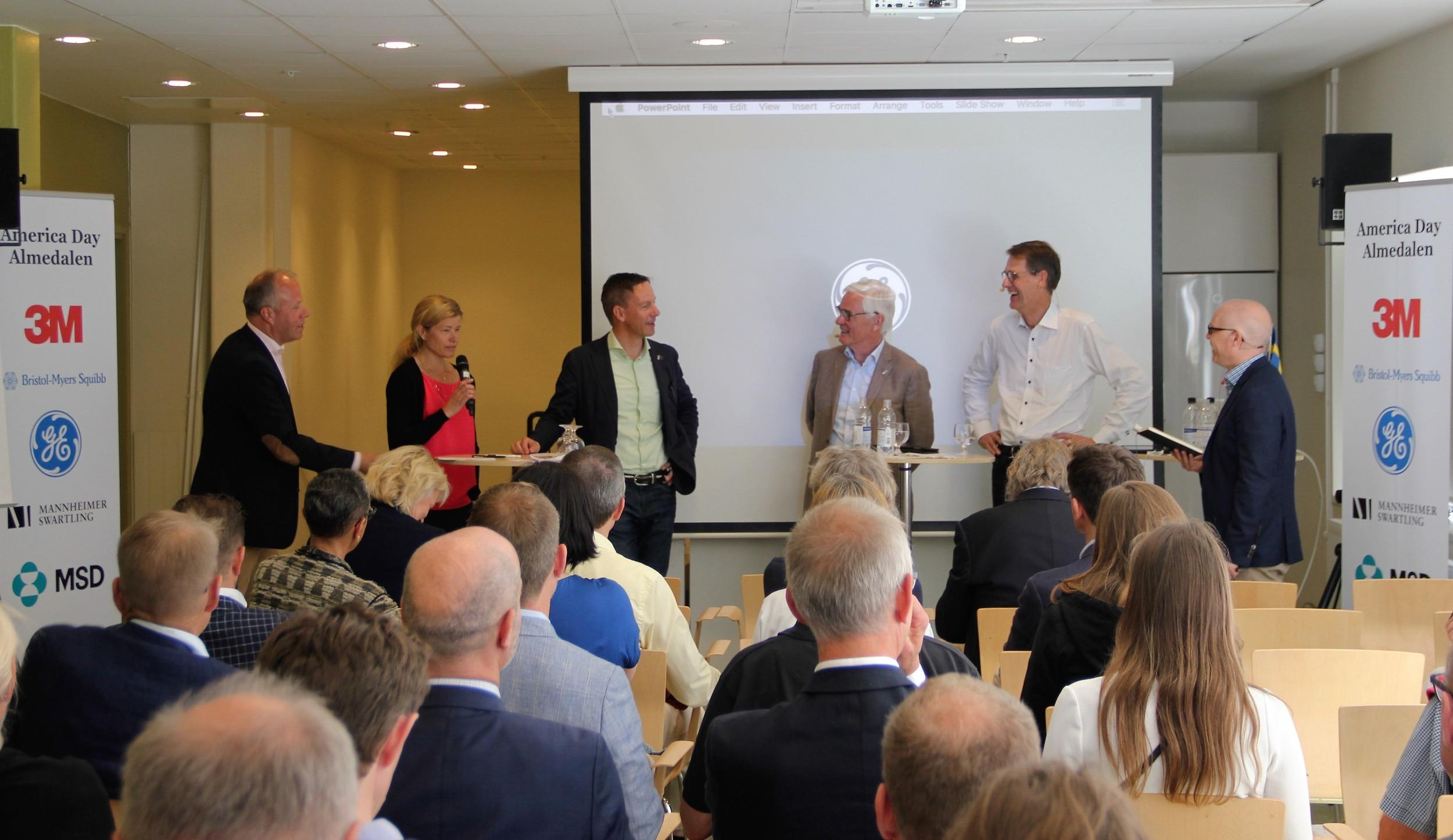 Pictured: Lars Näslund, 3M; Malin Parkler, Pfizer; Jacob Tellgren, MSD; Hans Enocson, GE; Martin Ingvar, Karolinska Institutet; Magnus Aronsson, ESBRI.   Amir Hefni, Bristol-Myers Squibb, arrived after this photo was taken.